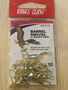 Eagle Claw Fishing Tackle, Barrel Swivel Safety Snap, (12), Size 10, SS1210