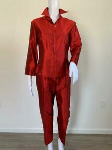 TAHARI Vintage Ruby Red Silk Dupioni BD Shirt + Clean Front Pant Set  Sz US 6