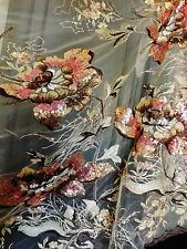 Bridal Wedding Sequin Floral Embroidered Beige Brown Pink flowers Lace Fabric
