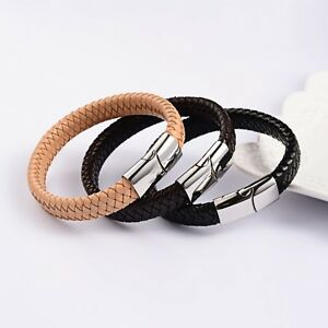 Leather Bracelet Braiding Stainless steel magnetic clasp Surfer n56