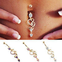 Navel Belly Button Rings Crystal Dangle Bar Barbell Body Piercing Jewelry Beauty
