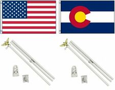 3x5 Usa American & State of Colorado Flag & 2 White Pole Kit Sets 3'x5'