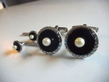 Vintage 950 silver Onyx Pearl round cuffs button studs set 19 mm  I-6849