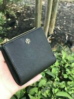 NWT Tory Burch Emerson Saffiano Leather Mini Wallet Imperial Black