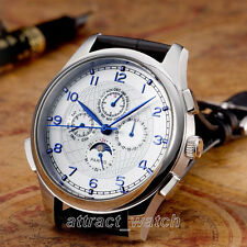 Parnis 44mm Seagull Automatic Movement Men Wrist Watch Day Date Month Indicator