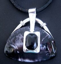 Tibetan Silver 5mm Leather Cord 40cm Necklace Handbag Pendant Black FREE POST