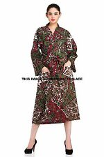 Indian Star Mandala Printed Long Kimono Boho Bath Robe Nightdress Gown Sleepwear