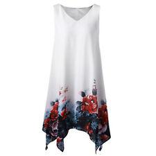 Fashion Women Plus Size Floral Print Chiffon Sleeveless Irregular Hem Mini Dress