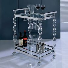 Rolling Bar Table Beverage Serving Cart Glass Shelf Chrome Guest Drinks Server