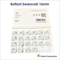 24 BOTTONI SWAROVSKI ORIGINALI ORIGINALE 16mm CRISTALLO ART. 3015 CRYSTAL CUCIRE