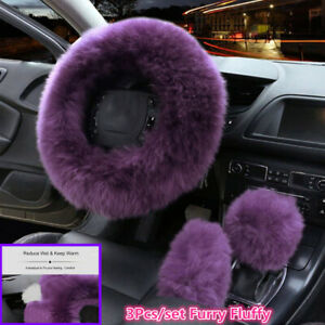 3x Grape Purple Furry Fur Car Steering Wheel Cover Wool Fluffy Winter Essential