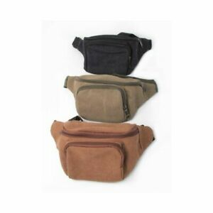 Canvas fabric bum bag with adjustable black strap 2 front zip compartment UK