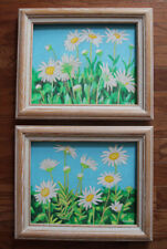 1 Set, Daisy, Original Acrylic Paintings, Flower, Garden, Signed, Framed, Art