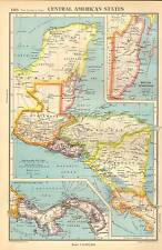 Antique Map 1947 Bartholomew Central American States