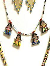 Beaded Necklace Female figures Earrings Ethnic Native Seedbeads yellow multicol