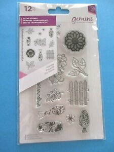 Gemini FLORISTRY Acrylic Rubber Stamps FLOWERS Crafter's Companion 12 pc