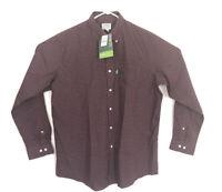 LL Bean Wrinkle Resistant Button Down Long Sleeve Shirt Plaid Burgundy Size L