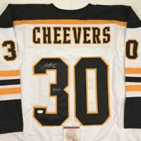 Autographed/Signed GERRY CHEEVERS HOF 85 Boston White Hockey Jersey JSA COA Auto
