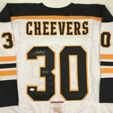 Autographed/Signed Gerry Cheevers Hof 85 Boston White Hockey Jersey Jsa Coa Auto