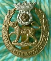 WW1 York and Lancaster Regiment Cap Badge Bi-Metal Slider ANTIQUE Original