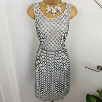 Monsoon Dress Midi Boat Neck Sleeveless Embroidery Lace Cotton White Size UK 8