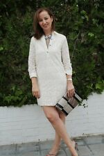 ZARA CREAM JEWEL BUTTON EMBROIDERED LACE DRESS SIZE LARGE REF 1836 023