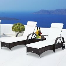 Outsunny  Rattan Sun Lounger Side Table Day Bed Recliner Garden Chair w/ Wheels