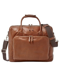NEW Fossil Men's Cognac Brown Leather Carson Travel Carry-on Weekend Bag $449
