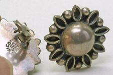 Danish Style Design Clip On earrings Vintage Sterling Silver Wire Work Mexican