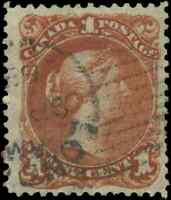 Canada #22 used VF 1868 Queen Victoria 1c brown red Large Queen 'London' CDS