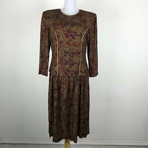 Vintage 1980s Karen Stevens Paisley Dress Multicolor Size 12P Gold Accents Rayon