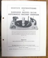 SERVICE MANUAL FOR GARRARD RC 90 TURNTABLE PHOTO COPY 36 PAGES USEFUL INFO