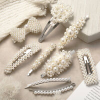 Elegant Women Pearl Hair Clip Snap Barrette Stick Hairpin Hair Accessories Gift