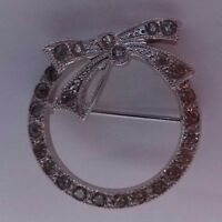 Vintage Sterling Silver and Rhinestones Wreath Bow Pin Brooch Stamped Sterling