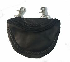 Genuine Leather Belt Bag - Motorcycle Clip On Hip Purse - Black Braided, Zipper