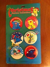 1992 Christmas Button Collection Jim Benton Merry Holiday Happy Animals Buttons
