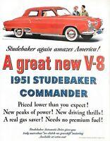 1951 Studebaker Commander Automobile Vintage Print Ad A Great New V8