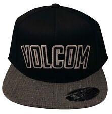 MENS VOLCOM ORIGINAL SNAPBACK  ADJUSTABLE FLAP BILL Black / Gray HAT CAP
