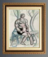 SUPERBE OEUVRE ORIGINALE CUBISTE FEMME ASSISE AU CHAT SIGNEE VERS 1950