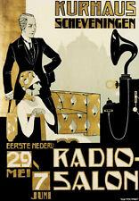 Vintage Dutch 1920 First Philips Radio Salon Ad Poster 13 x 19 Giclee Print