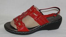 * SAIMON * ITALY * GENUINE LEATHER WEDGE SANDAL * EUR 39 * AU 8 - 7.5* 25 CM*RED