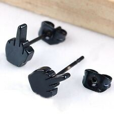 New 2pcs Fashion Punk Cool Black Stainless Steel Men's Ear Studs Earring