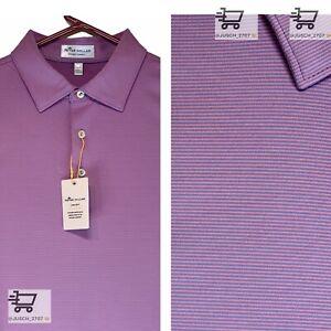 PETER MILLAR Crown Summer Comfort Golf Polo Shirt ⛳️ MEDIUM M⛳️ Purple Striped