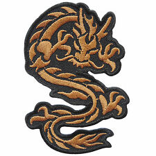 Dragon Flames Brown Chinese China Taoism Kung Fu Biker Tattoo Iron on Patch A101
