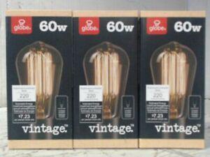 NEW LOT OF 3 Globe Electric 01321 60-watt S60 Medium Base Light Bulbs