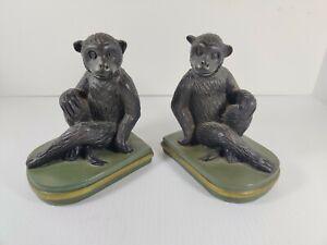 Vintage Monkey Ape Chimpanzee Bookends Heavy Resin
