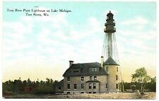 Twin Rivers Point Lighthouse on Lake Michigan Wisconsin Vintage Postcard