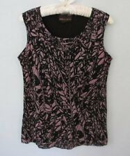 Dana Buchman purple black geometric scoop neck sleeveless top *Sz S*