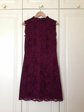 TED BAKER burgundy red floral lace flare high neck dress wedding races asos 3 12
