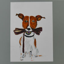 More details for mm085 jack russell mystery masterpieces art postcard dog leash  15cm x10.5cm